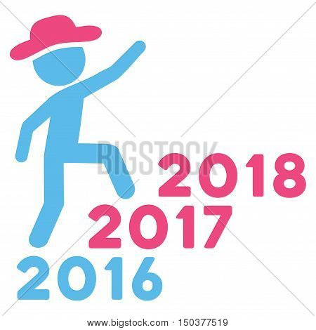 Gentleman Steps Years vector pictogram. Style is flat graphic symbol, pink and blue colors, white background.