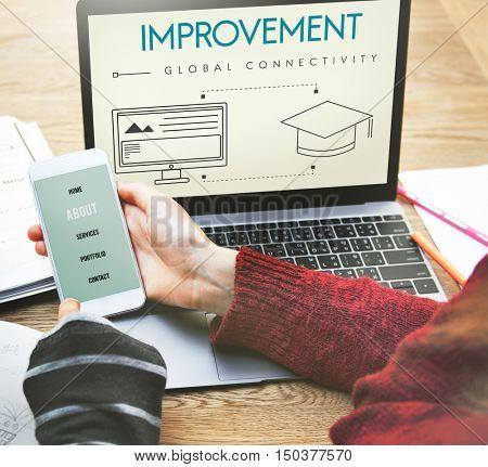 Improvement Global Connectivity Education Graphic Concept