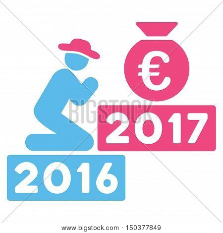 Pray for Euro 2017 vector icon. Style is flat graphic symbol, pink and blue colors, white background.