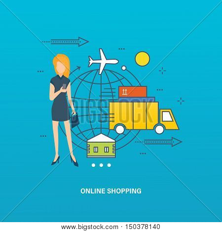 Concept of purchase in the online store and order in through online. Vector design for website, banner, printed materials and mobile app.