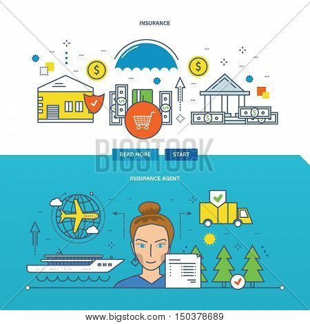 Concept of insurance agent and property insurance. Color Line icons collection. Vector design for website, banner, printed materials and mobile app.