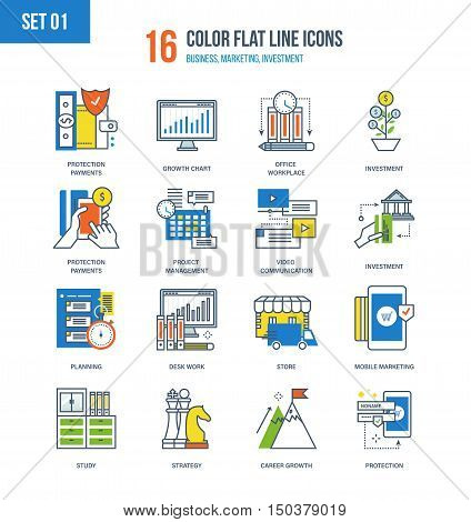 Color Flat Line icons set of protection of payments, career development, strategic planning, project of management, investment, communication, marketing, learning, jobs. Editable Stroke.