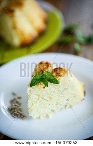 curd rice casserole stuffed sunflower seeds on a plate