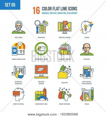 Color Flat Line icons set of creativity and creative design, development and application support, marketing. online business, reference service and delivery, video tutorials, tools. Editable Stroke.