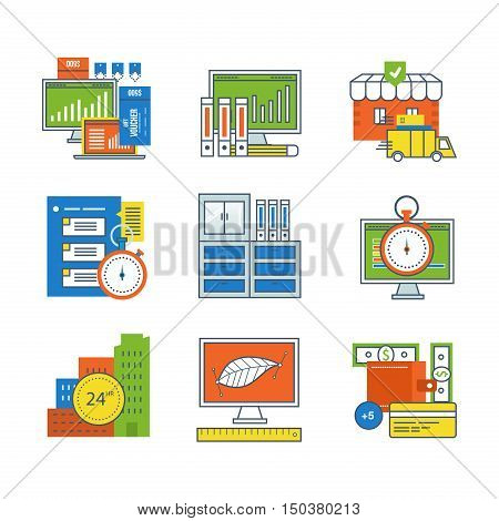 Concept of time management, design, types and methods of payment, online shopping and maintenance services, workplace, graphic design, discounts, statistics, office. Editable Stroke.