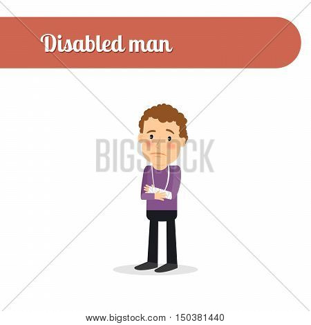 Disabled person vcetor icon. Man with fractures