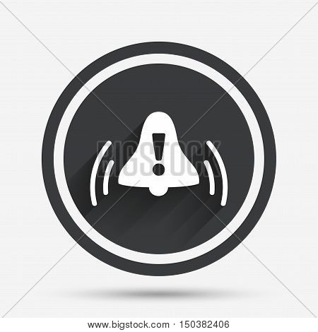 Alarm bell with exclamation mark sign icon. Wake up alarm symbol. Circle flat button with shadow and border. Vector