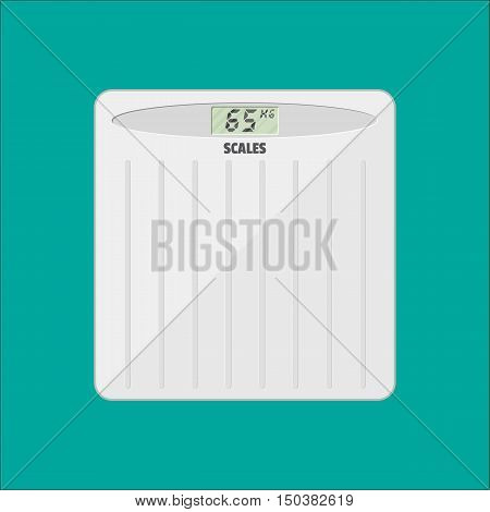 Bathroom floor weight scale. vector illustration in flat style isolated on green
