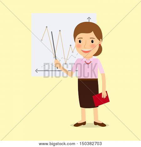 Teacher with whiteboard cartoon character. Vector illustration