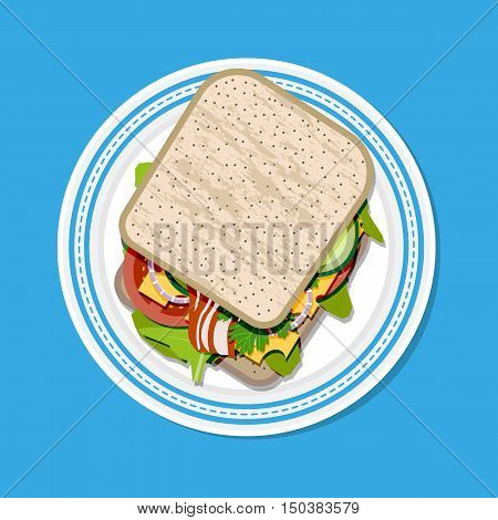 Sandwich on plate top view. toast bread, tomato, ham, salad and cheese. vector illustration in flat style on blue background