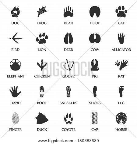 Animal tracks set 25 black simple icons. Animal, car, human print icon design for web and mobile device.