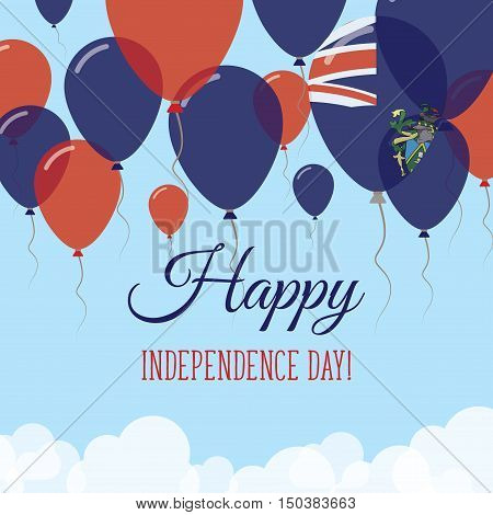 Pitcairn Independence Day Flat Greeting Card. Flying Rubber Balloons In Colors Of The Pitcairn Islan