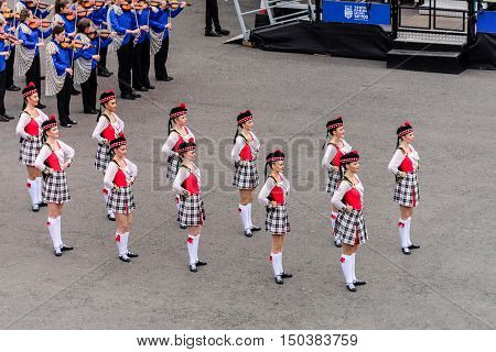 EDINBURGH, SCOTLAND--AUGUST 13, 2016--Some of the performers taking part in the Military Tattoo being held at Edinburgh Castle, Edinburgh, Scotland.