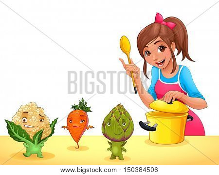 Girl is cooking with three funny vegetables. Vector illustration with transparent background on the eps file.
