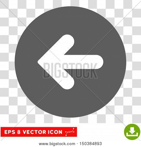 Arrow Left round icon. Vector EPS illustration style is flat iconic bicolor symbol, white and silver colors, transparent background.