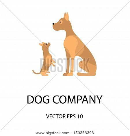 Logo with a dogs for veterinarian clinic, pet shop, dog walker, dog training. Isolated Vector logotype. Easy to use and edit.