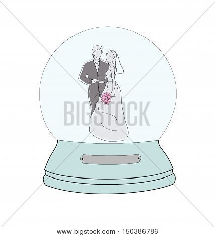 a man and a woman in a wedding dress on the wedding day. composition in the snow globe. vector illustration.