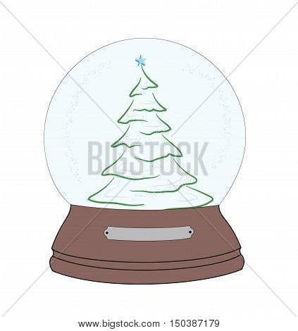 Christmas tree in a snow globe. Christmas and New Year's composition. vector illustration.