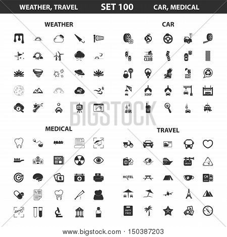 Weather, car set 100 black simple icons. Travel, medical icon design for web and mobile device.