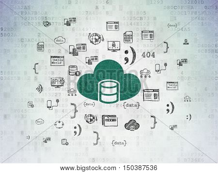 Software concept: Painted green Database With Cloud icon on Digital Data Paper background with  Hand Drawn Programming Icons