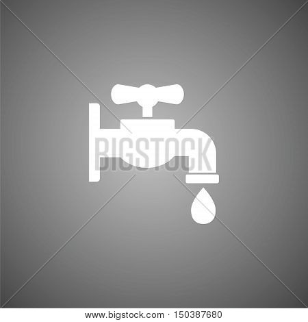 Faucet vector icon, Vector tap symbol on gray background