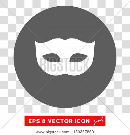 Privacy Mask round icon. Vector EPS illustration style is flat iconic bicolor symbol, white and silver colors, transparent background.