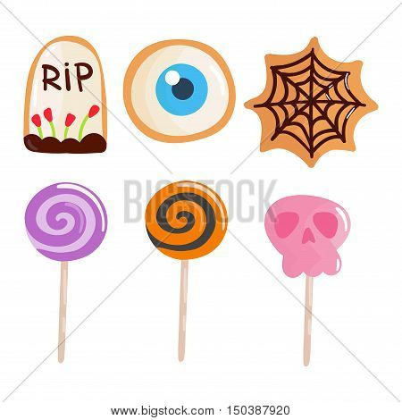 Halloween candy symbol vector autumn fear creepy traditional sign. Halloween horror design icon. Celebration october halloween symbol.