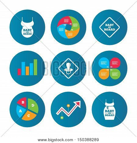 Business pie chart. Growth curve. Presentation buttons. Baby on board icons. Infant caution signs. Child pacifier nipple. Pregnant woman dress with big belly. Data analysis. Vector