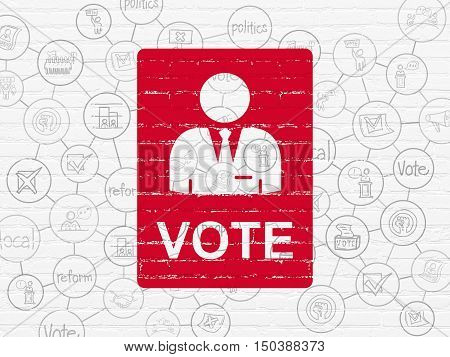 Politics concept: Painted red Ballot icon on White Brick wall background with Scheme Of Hand Drawn Politics Icons