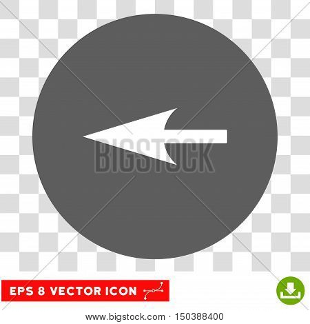 Sharp Left Arrow round icon. Vector EPS illustration style is flat iconic bicolor symbol, white and silver colors, transparent background.