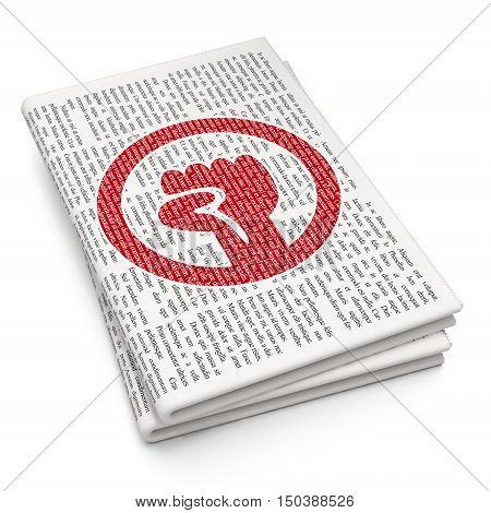 Political concept: Pixelated red Uprising icon on Newspaper background, 3D rendering