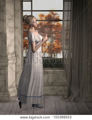 Illustration of a Regency (late 18th to early 19th century) woman, standing by a window looking out at the rain, digital illustration (3d rendering)