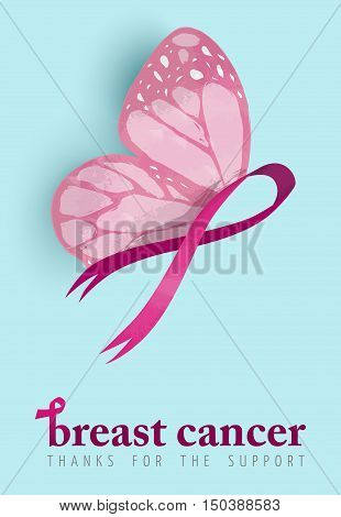 Breast Cancer Awareness Design Of Pink Butterfly