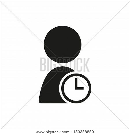user timer icon in simple black design Created For Mobile Web Decor Print Products Applications. Black icon isolated. Vector illustration.