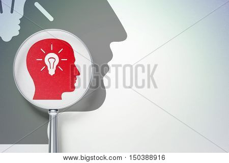 Education concept: magnifying optical glass with Head With Light Bulb icon on digital background, empty copyspace for card, text, advertising, 3D rendering