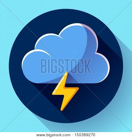 Vector flat color weather icon meteorology icon with long shadow - storm