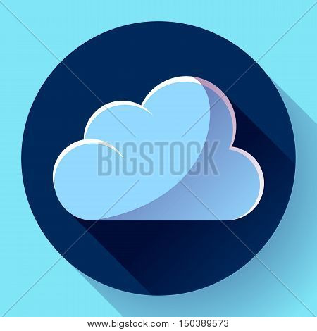Vector flat color weather icon meteorology icon with long shadow - cloudy