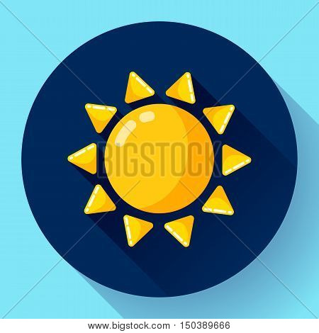 Vector flat color weather icon meteorology icon with long shadow - sun