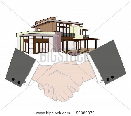 businessman handshake agreement. selling a home. Vector illustration. Symbol of a successful transaction.