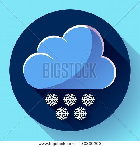 Vector flat color weather icon meteorology icon with long shadow - snow