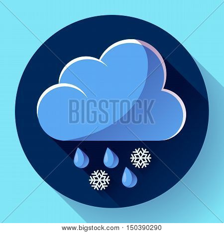 Vector flat color weather icon meteorology icon with long shadow - wet snow