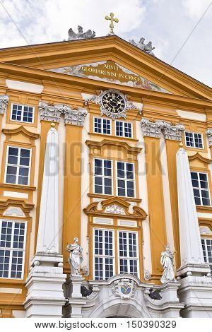 MELK, AUSTRIA - September 4, 2016: Detail of the facade of the Benedictine Abbey at Melk Danube Valley Austria