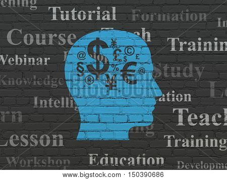 Studying concept: Painted blue Head With Finance Symbol icon on Black Brick wall background with  Tag Cloud