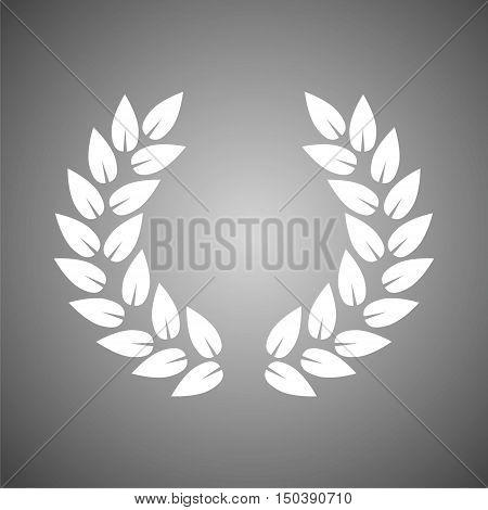 Laurel icon, Laurel wreath on gray background