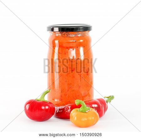 picture of a Traditional Macedonian food. Ajvar in jar . homemade product