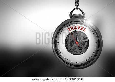 Business Concept: Pocket Watch with Travel - Red Text on it Face. Business Concept: Travel on Pocket Watch Face with Close View of Watch Mechanism. Vintage Effect. 3D Rendering.
