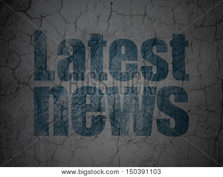 News concept: Blue Latest News on grunge textured concrete wall background