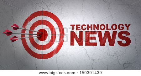 Success news concept: arrows hitting the center of target, Red Technology News on wall background, 3D rendering