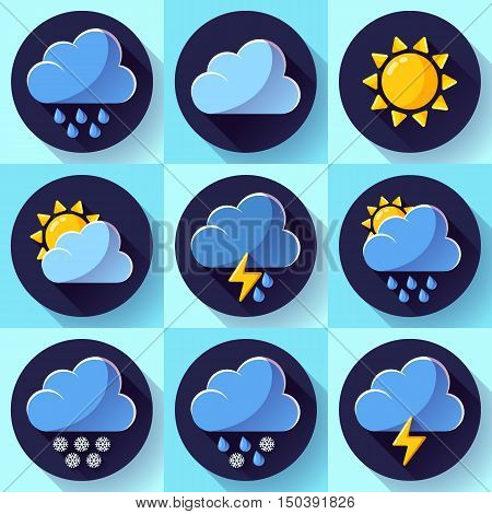 Vector flat color weather icons set meteorology icons set with long shadow