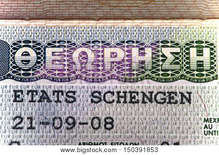 Schengen visa of Greece on the page of the passport close up